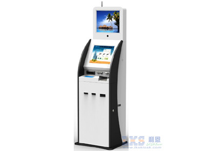 17 Inch Cold Rolled Steel Digital Kiosk Display With ID Scanner Card Issue Modules
