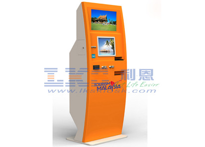Restaurant Dual Touch Screen Promotional Kiosk , Coin Kiosk